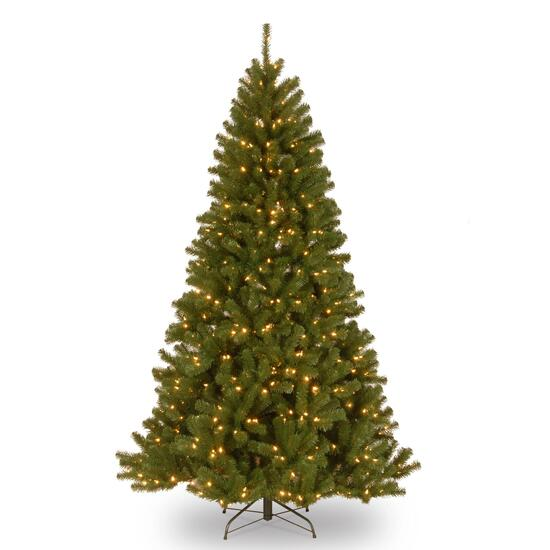 North Valley Spruce Hinged Tree with 500 Clear Lights - 7ft.
