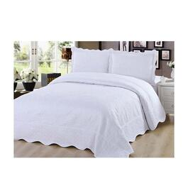 Beauty Sleep Bedding Embroidered White Quilt Set - Queen