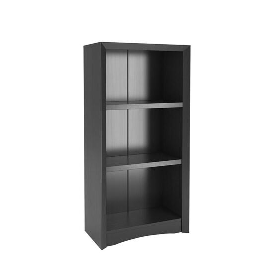 CorLiving Quadra Tall Black Faux Woodgrain Bookcase - 47in.