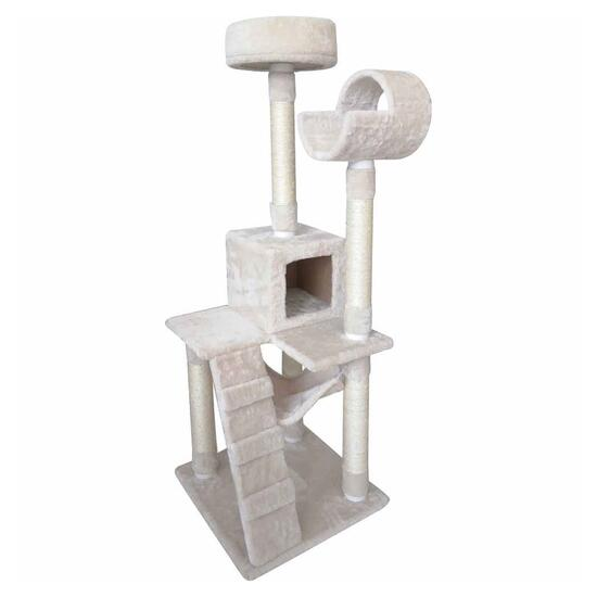 Penn Plax White Deluxe Five Level Cat Tree with Climate Pocket