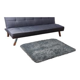 HomeStyles Faux Fur Charcoal Rug - 44in.