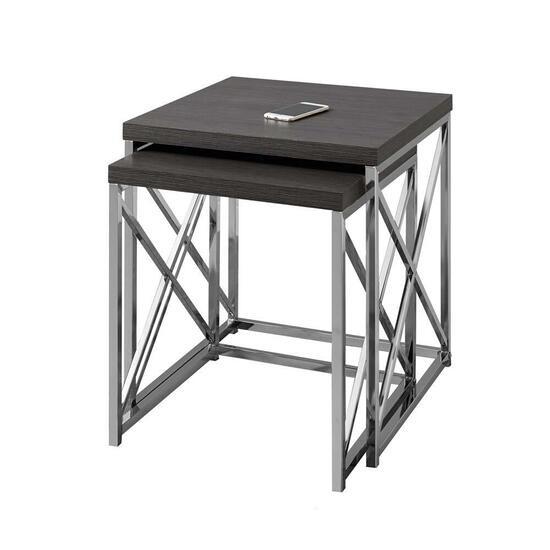 Monarch Specialties Nesting Tables- Grey with Chrome Metal