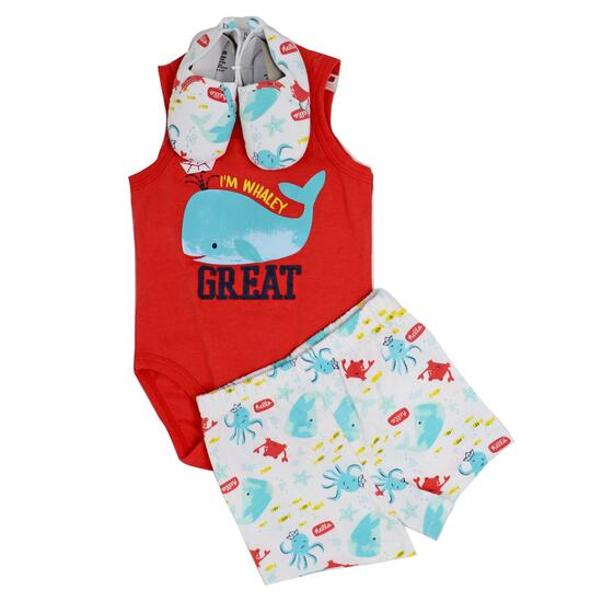 "3 Piece Bodysuit, Short and Shoe Set: """" Whaley Great"""" 0-3M"