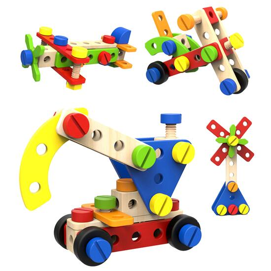 Tooky Toy Wooden Construction Builder Set - 52pc.