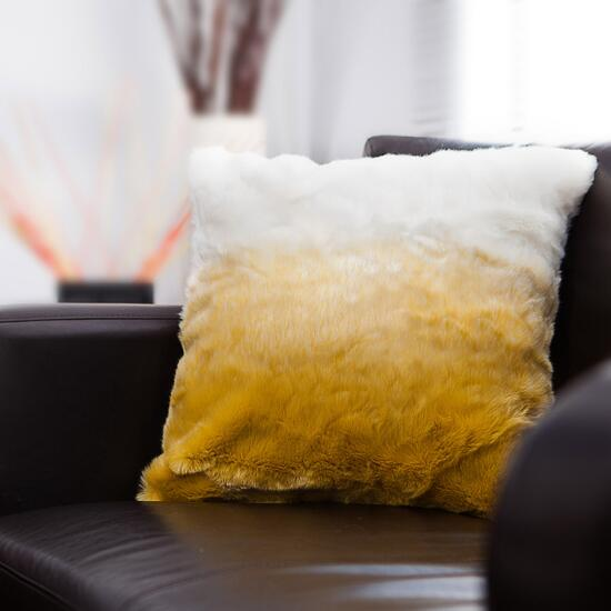 Gouchee Design Yellow and White Lush Cushion - 18in.