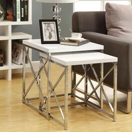 Monarch Specialties Inc. Chrome Metal Nesting Tables - 2pc.