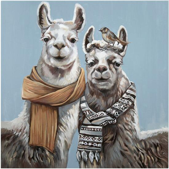 Llama Brothers Canvas Art - 18in. x 18in.