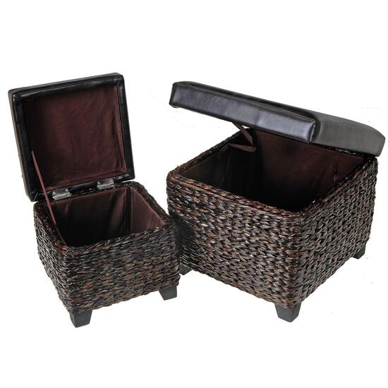 Kian Brown Wicker Square Storage Ottoman - 2pc.