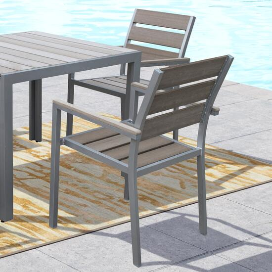 CorLiving Sun Bleached Grey Outdoor Dining Chairs - 2pc.