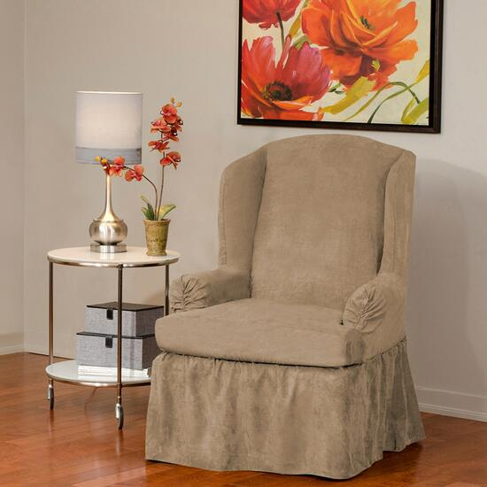 surefit Luxury Suede Relaxed Fit Wing Chair Slipcover
