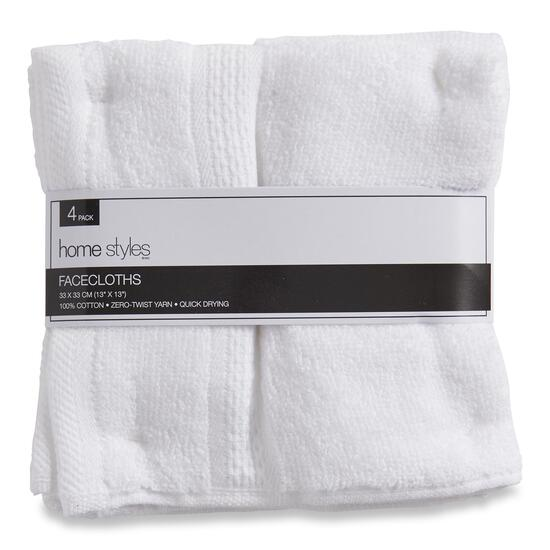HomeStyles White Facecloths - 4pk. - 13in.