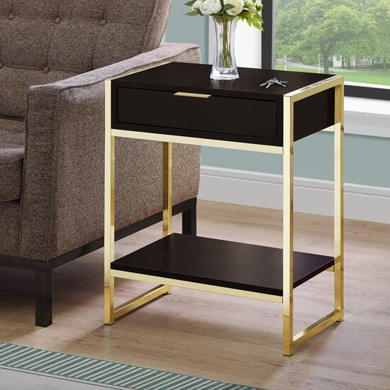 Monarch Specialties Cappuccino and Gold Accent Table - 24 in.