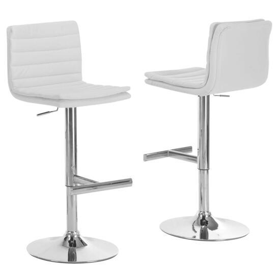 Monarch Specialties Inc. White Chrome Metal Bar Stool - 2pc.