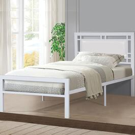 Titus Contemporary White Platform Bed Frame