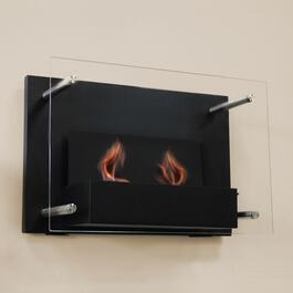 Paramount Black Indoor Wall Mount Gel Fuel Fireplace - 8in.