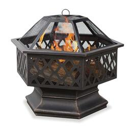 ENDLESS SUMMER Oil Rub Bronze Hex Shaped Firebowl with Lattice Design