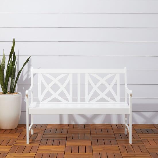 Vifah Bradley White Outdoor Patio Garden Bench