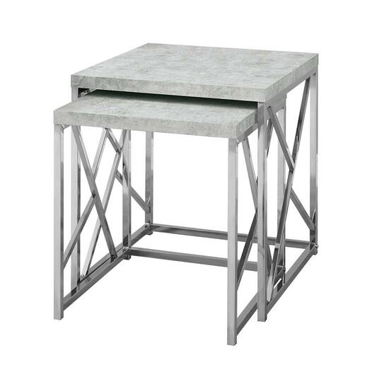 Monarch Specialties Grey Cement Nesting Tables - 2pc.