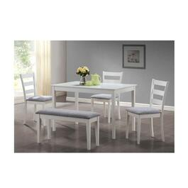 Monarch Specialties 5 Piece Dining Set - White Bench with Chairs