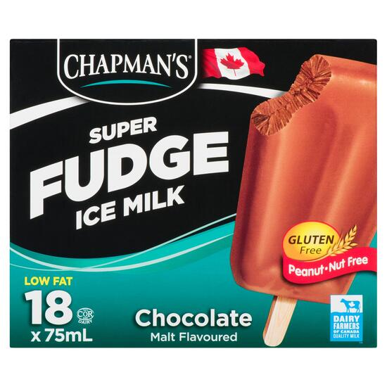 Chapman's Super Fudge Ice Milk Chocolate Malt Bars 18pk. - 75ml