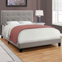 Monarch Specialties Grey Linen Bed Frame - Queen