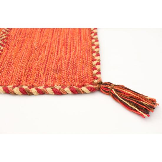 eCarpet Gallery Hand-Woven Bold and Colorful I Red Wool Kilim Rug