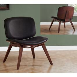Monarch Specialities Accent Chair Dark Brown Leather Look Fabric