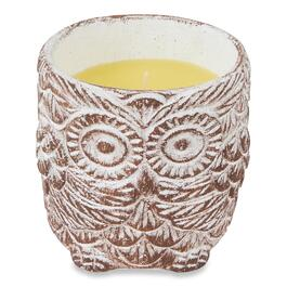 YellowTag Brown Cement Owl Pot Citronella Candle