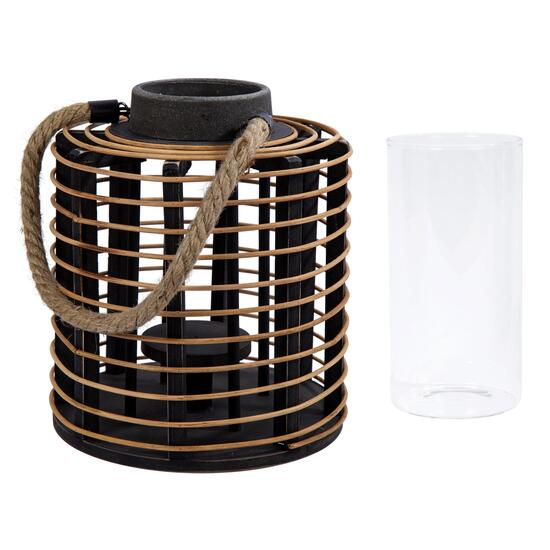 Truu Design Brown Wooden Rattan Lantern - 16in.