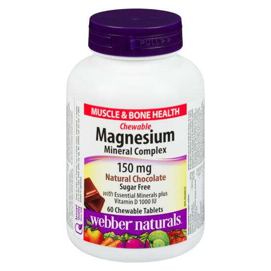 Webber Naturals Magnesium Mineral Complex 150 mg - 60 Chewable Tablets