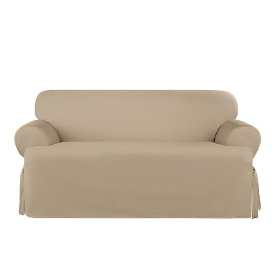 surefit Heavyweight Cotton Slipcover for T-Cushion Loveseat in Khaki