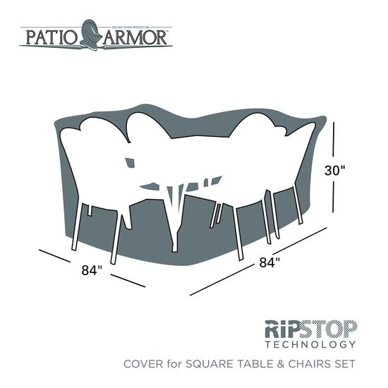 Sure Fit Patio ArmourRipStop Deluxe Square Table and Chair Set Cover
