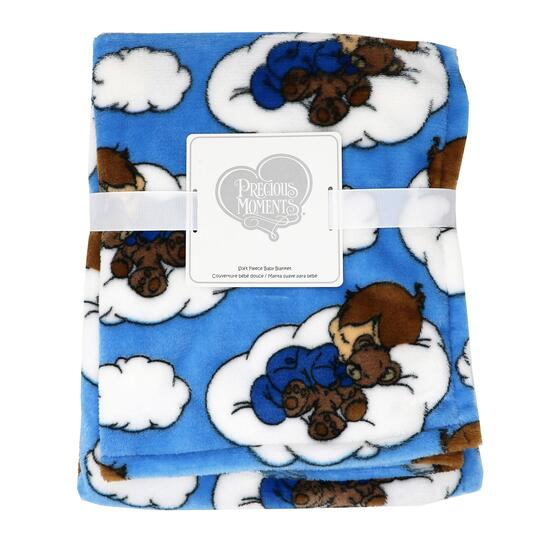Precious Moment Blue Baby Boy Cloud Stroller Blanket