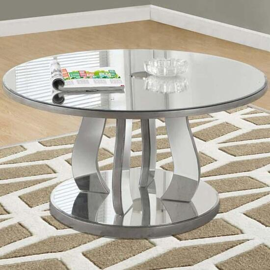 Monarch Specialties Coffee Table - Brushed Silver