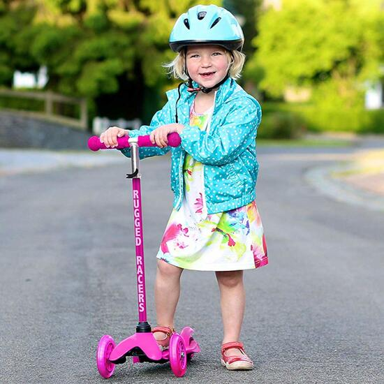 Rugged Racer Pink Mini Scooter with LED Wheels