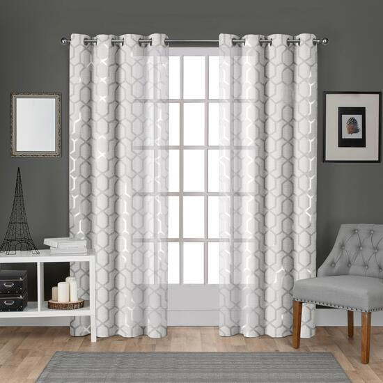 Exclusive Home Panza Metallic Geometric  Curtains - 108in.