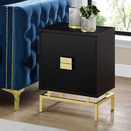 Monarch Specialties 24 in. Accent Table - Cappuccino and Gold Metal