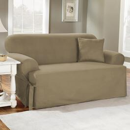 surefit¬ô Solid Cotton Slipcover for T-Cushion Loveseat - in Linen