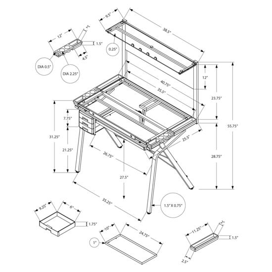 Monarch Specialties Adjustable Drafting Table - 41in. x 26in.