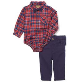 Little Gent Infant Red Plaid Bow-Tie Collared Bodysuit and Navy Pants 2pc. Set - 3-18M