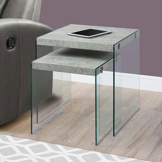 Monarch Specialties Nesting Tables - Grey Cement with Tempered Glass