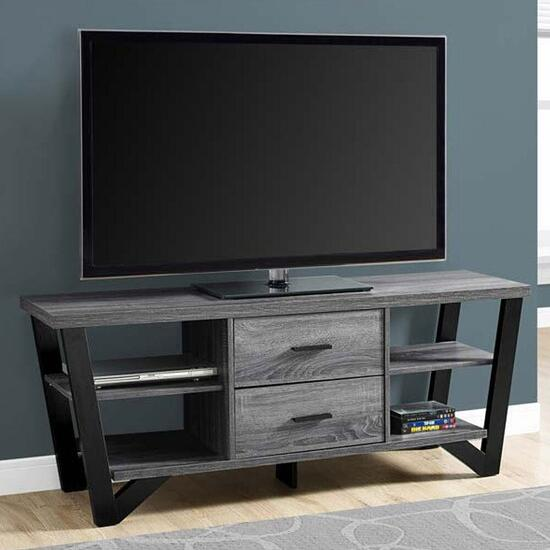 Monarch Specialties TV Stand - Grey-Black with 2 Storage Drawers