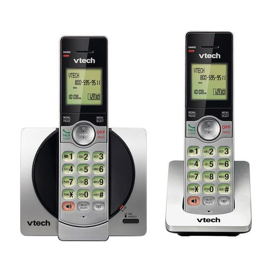 VTech 2-Handset DECT 6.0 Cordless Phones with Caller ID/Call Waiting - Silver