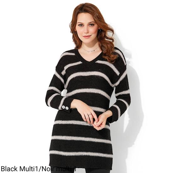 lily morgan Women's Striped Tunic Sweater - S-XL