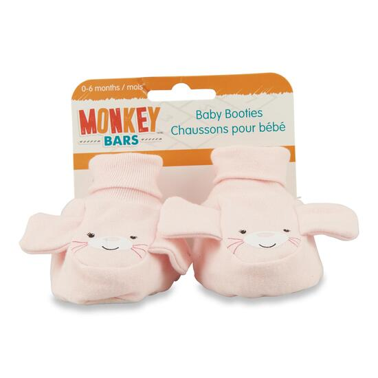 MONKEY BARS Pink Mouse Booties - One Size