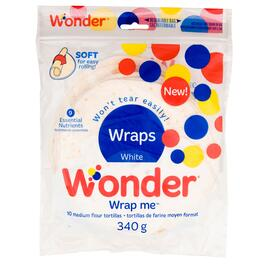 Wonder Wrap Me White Medium Flour Tortillas 10pk - 340g