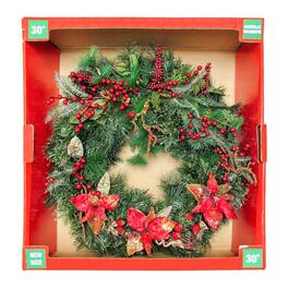 Henryka Decorated Wreath with Berries and Poinsettias - 30in.