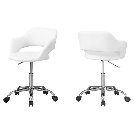 Monarch Specialties White Chrome Metal Hydraulic Lift Base Office Chair