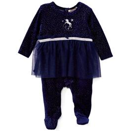 Bonjour Bebe Newborn Girls Navy Unicorn Velour Sleepsuit - 0-9M