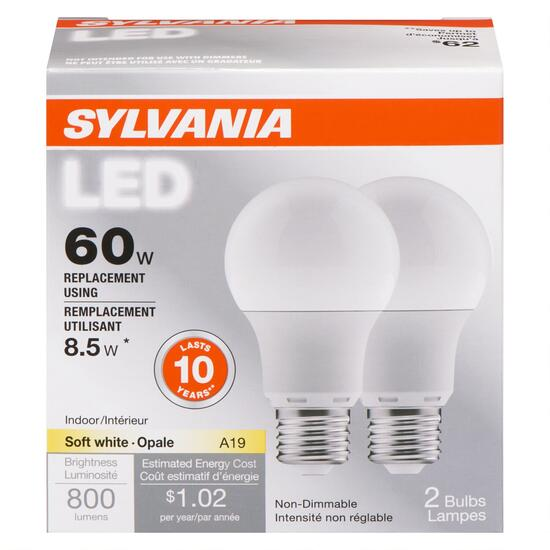 Sylvania 60W Soft White LED Light Bulbs - 2pk.